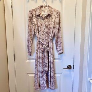 LOFT Snakeprint Midi Shirt Dress